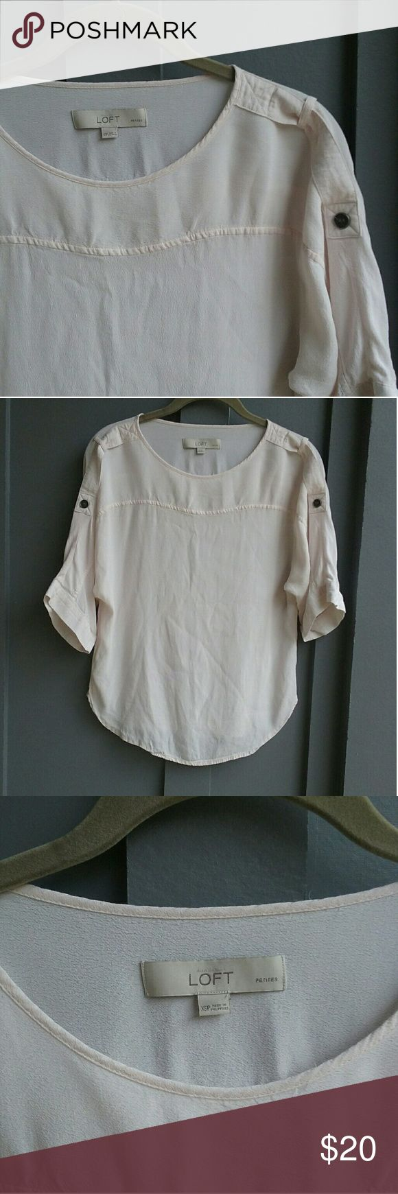LOFT Batwing Top Beautiful light pink top from LOFT. Cute tab detail on shoulders. Petite xs LOFT Tops Blouses