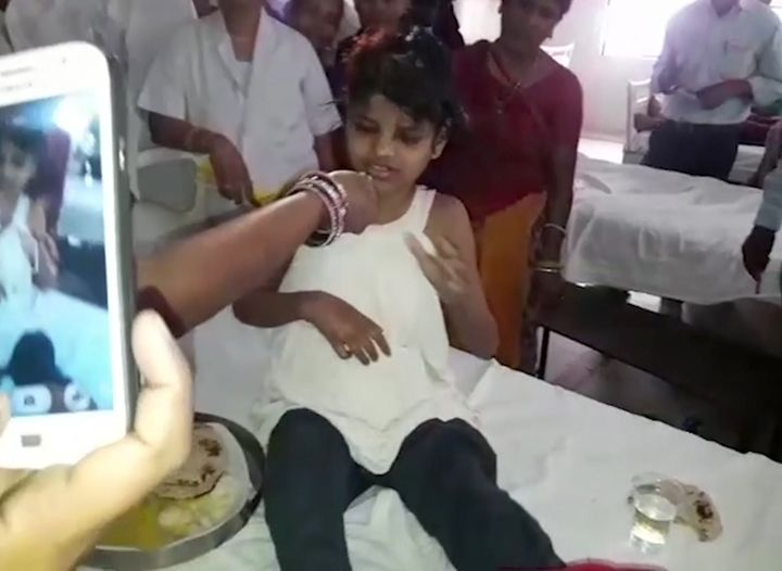 Real-life story of girl (10-12 years old) found living with monkeys in a Northern India forest. The girl, unable to speak and emaciated when found, behaved like an animal, running on her arms and legs and eating food from the floor. After treatment in hospital, she still cannot speak, but has begun walking normally and eating with her hands.