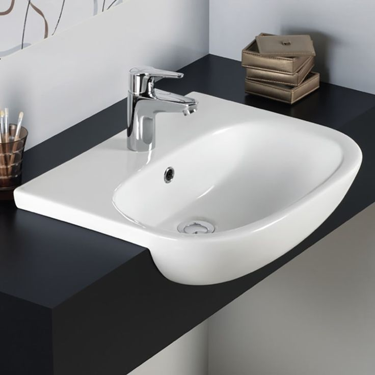 RAK Tonique 520mm Semi Recessed Basin with 1 Tap Hole | TONSRBAS1 | Drench