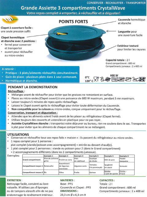Fiche Produit Tupperware: Grande assiette 3 compartiments CrystalWave