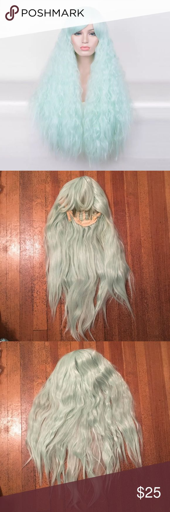 Mint Rhapsody Fluffy Cosplay Lolita Wig Gently used mint colored synthetic rhapsody wig! This wig was only worn twice and is still in great condition. The ends could use a brushing but the wig is not tangled or matted looking at all! It's very soft and fluffy. Not shiny at all, looks realistic! Mint green in color. Unbranded. High quality synthetic. Great for cosplay, sweet lolita coords, pastel goth, Halloween costumes, etc! So versatile! Pair with clothing from brands like Angelic Pretty…