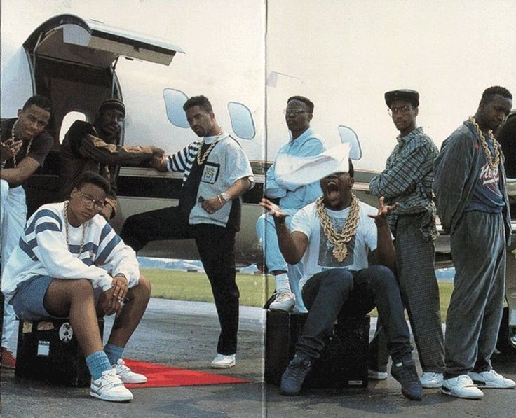 The Juice Crew on the back of In Control Vol. 1. From left to right standing: MC Shan, Big Daddy Kane, Marley Marl, DJ Polo, Masta Ace and K...
