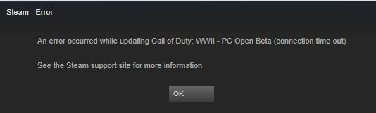 http://ift.tt/2xFSNvs error occurred while updating Call of Duty: WWII - PC Open Beta (connection time out. How do I fix this?