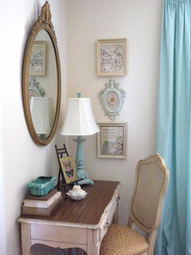 "Corner Curios  - Small Home Office Ideas on HGTV. Don't overlook corners. You can buy a corner desk to effectively ""hide"" a workspace and make it blend into the room, or you can take a small, traditional desk and turn it into a room feature. Here, Rate My Space user fleamarkettrixie took added some Tiffany blue flea market finds to spruce up this space."