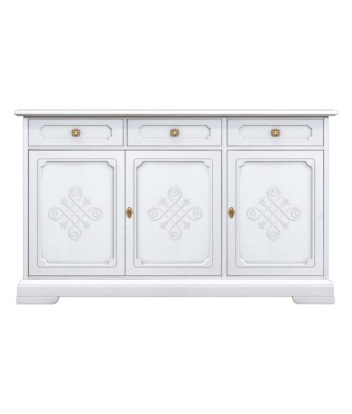 3 door sideboard sku. 3300-YOU wooden sideboard in white with friezes for very elegant dining room or living room
