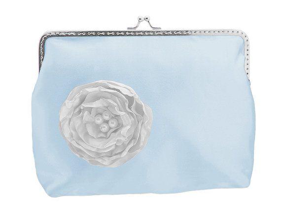 blue satin bridal handbag frame clutch bag blue by FashionForWomen