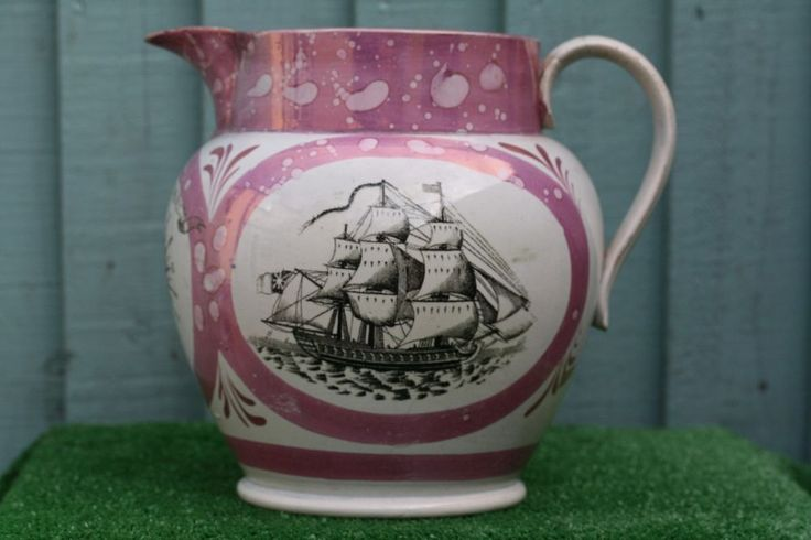 SUPERB MID 19thC LARGE SUNDERLAND LUSTRE WARE JUG WITH: SAILORS COMPASS c1850