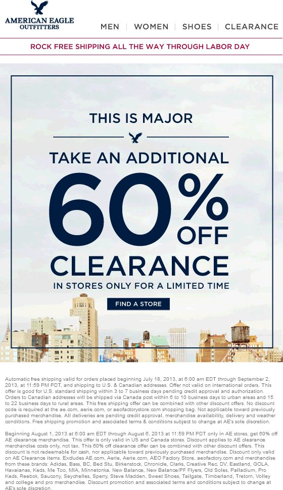 Pinned August 1st: Extra 60% off clearance items at American Eagle Outfitters coupon via The Coupons App