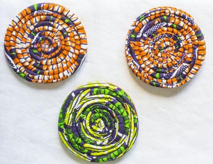 DIY Ankara African Dutch wax print coasters from fayahfayah.com