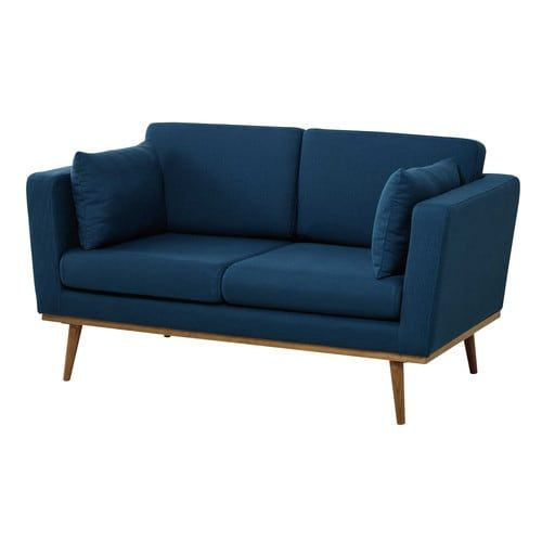Canapé 2 places en tissu bleu pétrole
