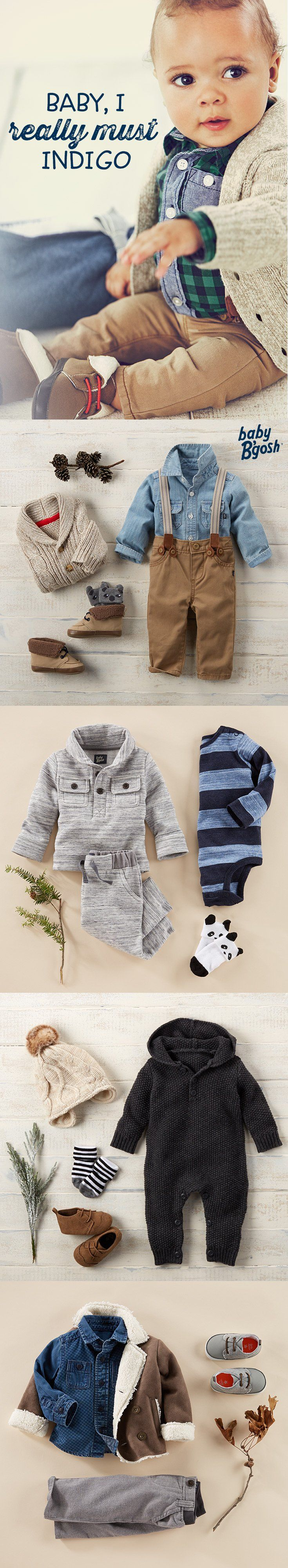 BABY, I REALLY MUST INDIGO: Baby, it's cold outside! A little indigo goes a long way this season. Layer these looks with neutrals like these cozy cable-knit cardigans or a sherpa rancher jackets.Take a peek at OshKosh for more from Baby B'gosh.