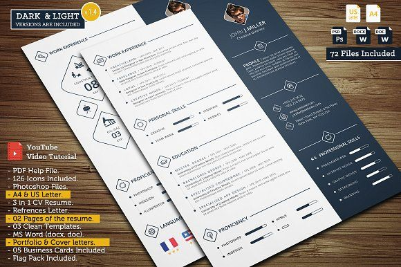 Power CV - ✔ The perfect way to make the best impression. Strong typographic structure and very easy to use and customise. ✔ The resume have a very organized and named layers, really easy to customize & available in A4 and US Letter. ✔ 05 Business Cards for Photoshop ( PSD ).   @creativework247