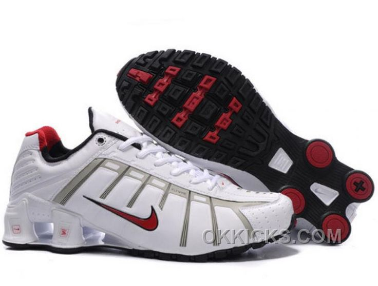 mens nike shox current red grey
