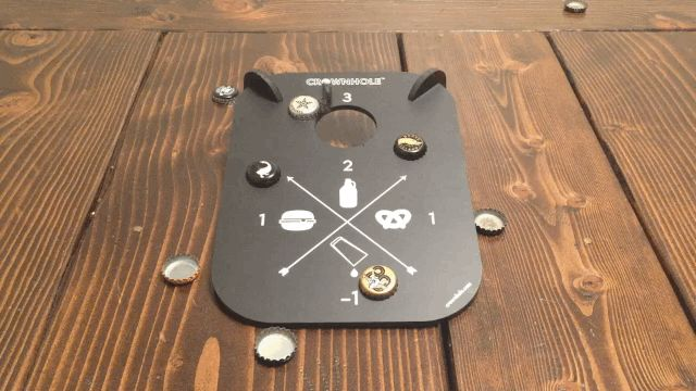 Crownhole - The Bottle Cap Bouncing Game That Combines Cornhole With Quarters