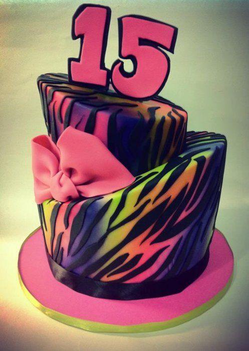 Neon rainbow zebra print - by hotmamascakes @ CakesDecor.com - cake decorating website