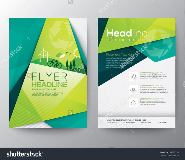 Abstract Triangle Brochure Flyer Design Vector Template In