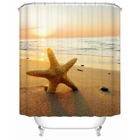 Sunset Beach with Starfish Shower Curtain