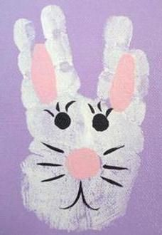 Cute Easter craft! Spread some white paint all over your kids hand except for the thumb. Stamp their hand on a colored piece of paper. Let it dry and paint the ears, nose and eyes.