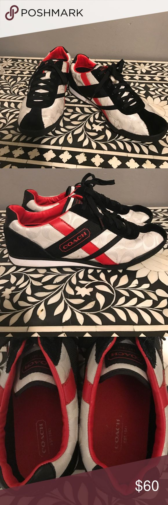 "Red, white, and black Coach tennis shoes Coach tennis shoes featuring red and black leather accents on a white ""C"" logo background. Worn once, perfect condition. Size 9. Coach Shoes Sneakers"