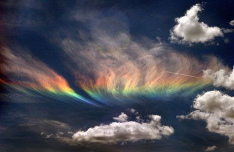 Known in the weather world as a circumhorizontal arc, this rare sight was caught on film on June 3 as it hung over northern Idaho near the Washington State border.  (This happened in 2006. )