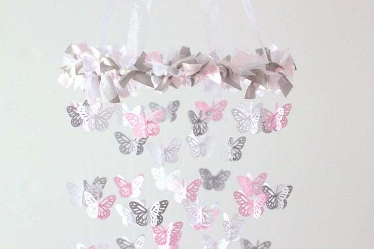 Pink & Gray Nursery Butterfly Mobile, Photography Prop,  Baby Shower Gift by LovebugLullabies on Etsy https://www.etsy.com/ca/listing/125023114/pink-gray-nursery-butterfly-mobile