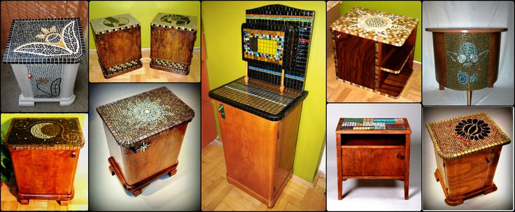 Art deco nightstands decorated with glass mosaics
