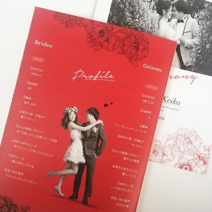 """. ポージングが可愛かったので、 迷わず切り抜きで。 . テーマカラーは""""red"""" 季節感のある、深めのお色を選ばれる方が増えてきました。 . #モノクロ人気 #paperitem #ペーパーアイテム #プロフィールブック #profilebook #wedding #weddingbook #ウェディング #招待状 #席次表 #menu #メニュー #プチギフトタグ #プチギフト #thankgtag #サンクスタグ #プレ花嫁 #ペーパーアイテムオーダー #paperdesignbam"""