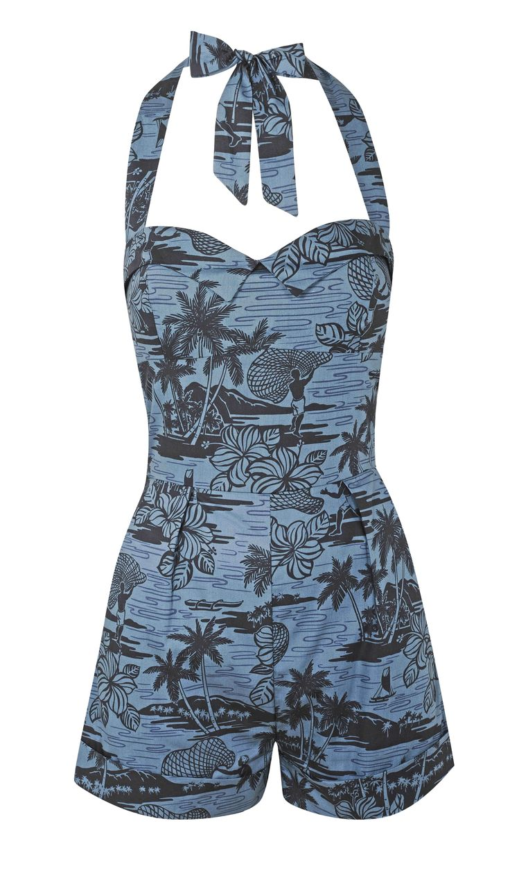 Tara Starlet - Blue Tropical Playsuit.