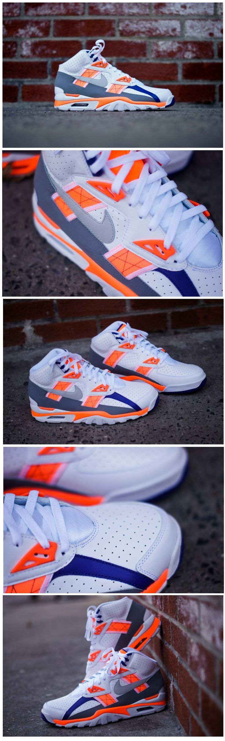 "Nike Air Trainer SC ""Auburn"". Bo Jackson's iconic sneaker re-designed with a mostly white upper with hints of purple and orange."