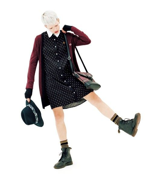 dress + cardigan with a masculine edge, FRED PERRY (This is so nineties; I love it and want to give it a hug.)