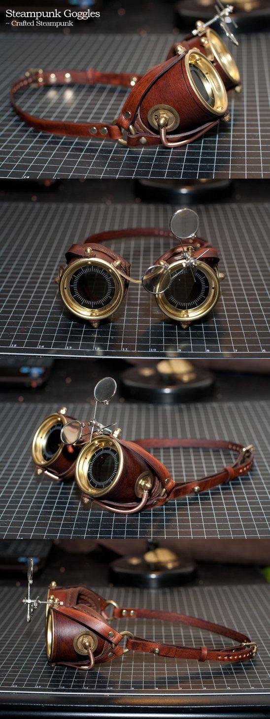 Steampunk Goggles by CraftedSteampunk.deviantart.com on @DeviantArt https://www.steampunkartifacts.com/collections/steampunk-wrist-watches