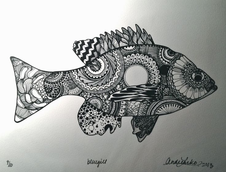Zentangle Fish Andrea Larko S Art Of Angling Zentangle