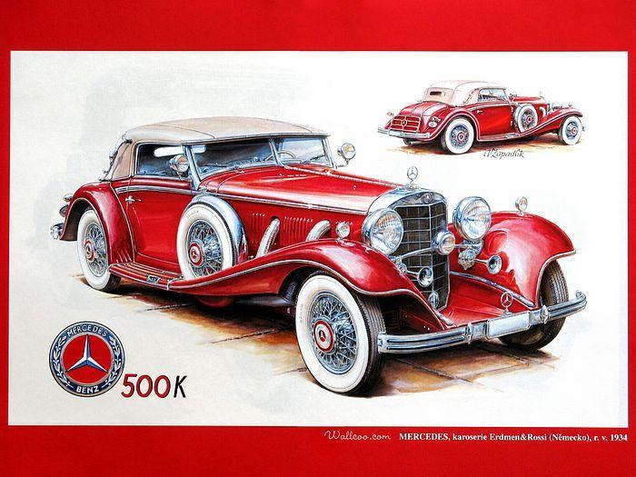 Vintage Cars and Racing Scene, Automotive Art of Vaclav Zapadlik  - Mercedes-Benz,  1934.  Red Mercedes-Benz Vintage Car  Wallpaper  25
