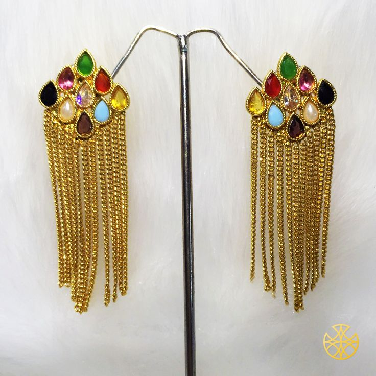 Navratna is the biggest trend in Indian traditional jewellery. Do you own yours already? If your not a fan of it in a large necklace try simple yet elegant earrings like this one.  Follow us on Instagram: instagram.com/malanajewels/  Like us on Facebook: www.facebook.com/malanajewels  To buy, please mail us on info@malanajewels.com with your requirements or call us on +91 9820302982.