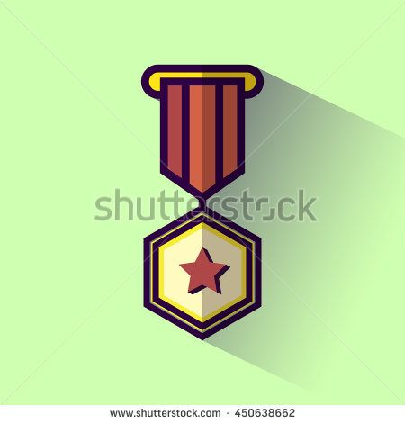 Medallion award winner flat design icon with long shadow. Vector illustration.