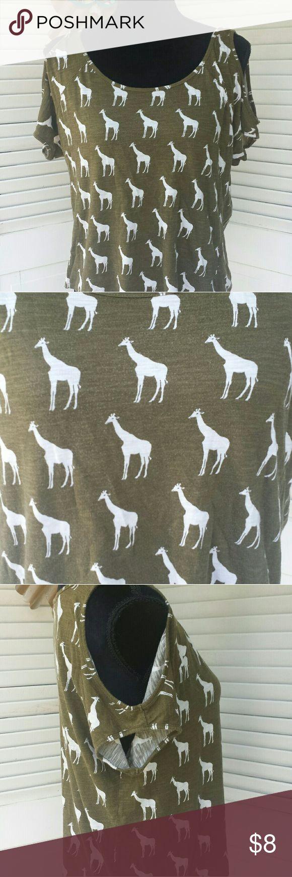 Forever 21 cute giraffe cold shoulder shirt Awesome giraffe pattern cold solder shirt size small petite Forever 21 Tops Blouses