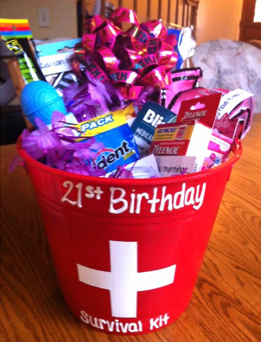 "21st Birthday Survival Kit I made for my sister this year. I filled it with a bunch of stuff she will need to stay alive on and after her 21st birthday.. Each item has a funny description or saying like, hair ties ""Because I won't be able to be there to hold your hair back"", Tylenol ""for tomorrow morning"", and more personalized items. She loved it, and she survived! -Nicole Simoneau"