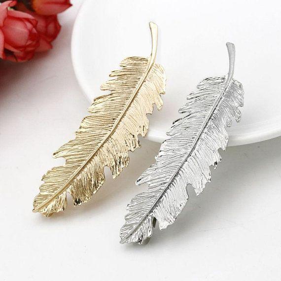 Leaf feather hair barrettes SET OF 2