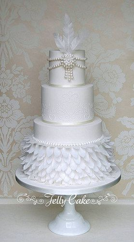 1920s Wedding Cake | by www.jellycake.co.uk Feathers and pearls 1920's 1930's wedding cake.