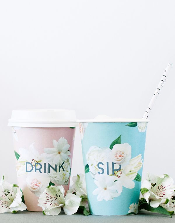 floral cup wraps: free printable from A Subtle Revelry...can also use the template to trace onto your own papers for a custom look.