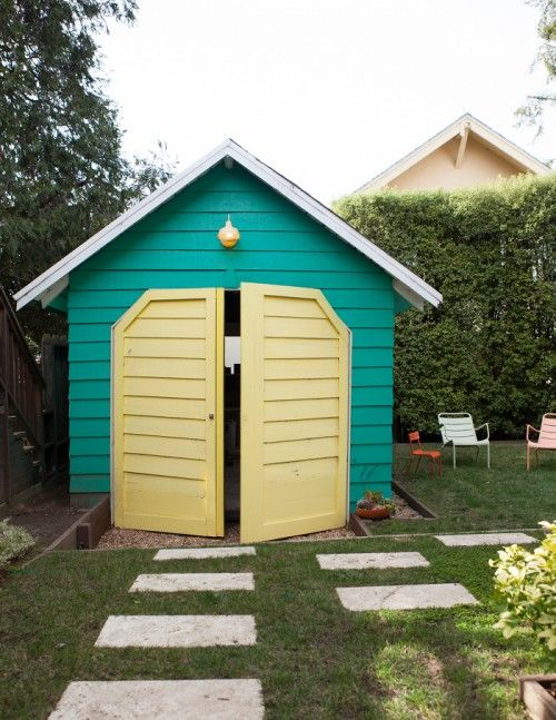 colorful shed in a backyard in Oakland