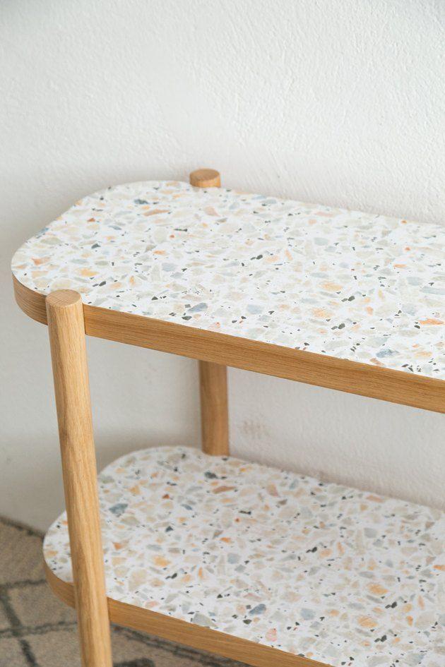 Easy IKEA Hack Console Table Using Removable Wallpaper | Hunker Ikea Furniture, Unique Furniture, Furniture Design, Ikea Console Table, Ikea Hack, Bathroom Interior Design, Terrazzo, Carpentry, Repurpose