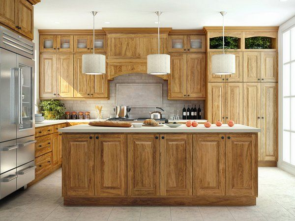 Hickory Kitchen Cabinets Island Pendant Lights
