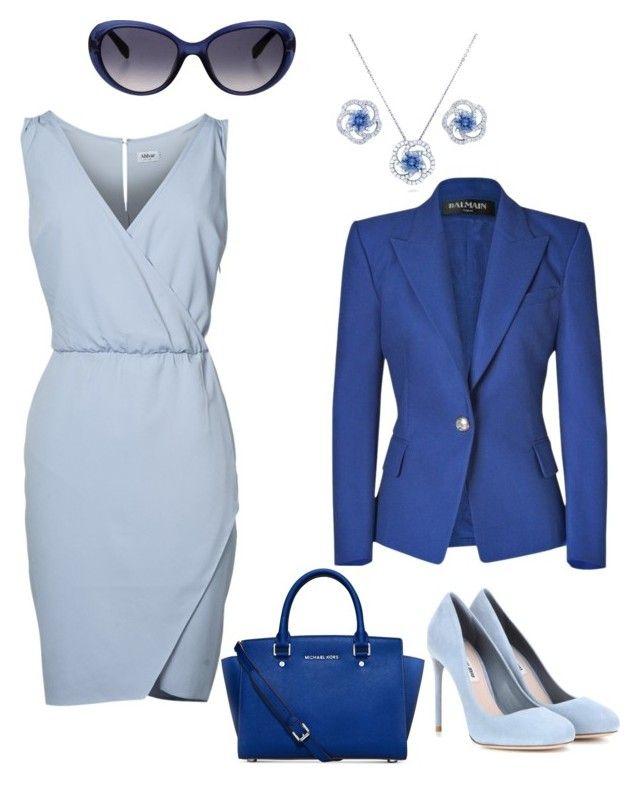 """Total blue"" by lanebuleusedepersephoneia on Polyvore featuring Balmain, Miu Miu, Michael Kors, BERRICLE, Emilio Pucci, Blue, dress and colorblock"