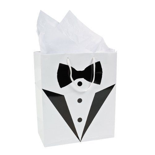 Tuxedo Gift Bags - Perfect for Best Man / Usher / Pageboy Gifts or Favours Perfect for presenting a gift to the Male participants at a weddingStylish and timeless, these bags will help your gifts stand out.Use these Medium Tuxedo Wedding Gift Bags to give gifts to the bride and groom or hand them to you bridal party!Size 7 1/4Tissue not included  Bride, bridesmaids, Groom, outfits, page girl, Wedding, wedding dresses