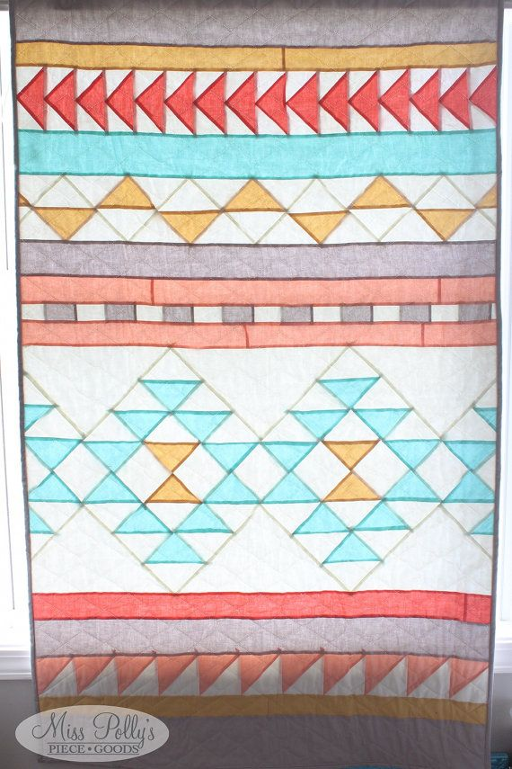 Baby Crib Bedding- Crib Quilt- Baby Quilt- Southwestern, Tribal Quilt- READY TO SHIP- aqua, gray, gold, peach, coral