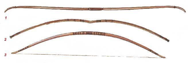 1 - простой традиционный деревянный лук. Был стандартным луком древнеегипетской армии, а также использовался на охоте. 2 - композитный лук. Изготавливался из дерева, рогов животных и сухожилий.  Требовал определенной сноровки в использовании, поэтому лучники проходили специальное обязательное обучение. Несмотря на то, что композитный лук был более мощным, его изготовление было дорогим и трудоемким. Был чувствителен к влаге.  3 - лук, массово использовавшийся во время битвы при Кадеше.