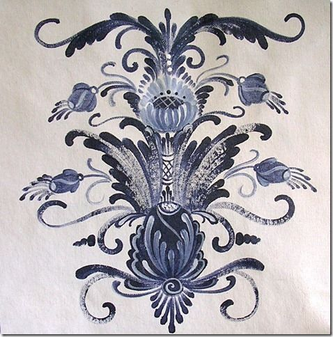 Dalamalning, or traditional Swedish decorative folk art painting, features bright colors and flowing lines to create flowers, leaves and vines and simple scenes. Similar to rosemaling, or one-stroke painting dalamalning painting techniques are used to decorate utilitarian wood household items like clocks,