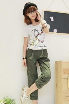 Contracted Leisure Hemming Pants Army Green