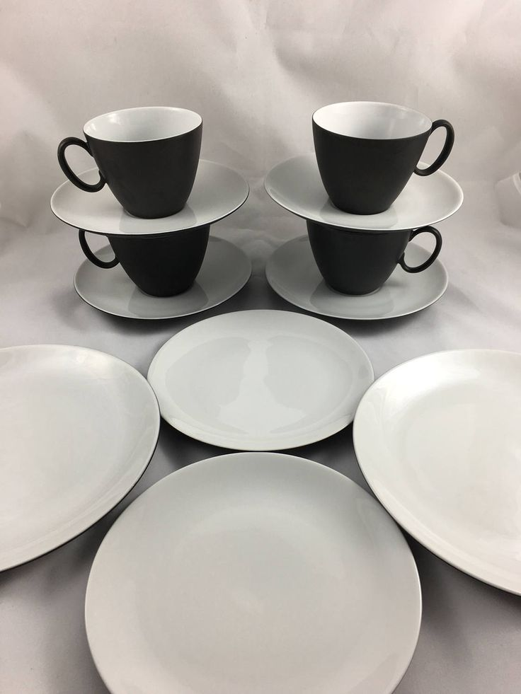 Vintage Raymond Loewy Continental China for Rosenthal Tea Cups, Saucers, Small Plates, 12 pc. set, Mid Century Modern Cups, Charcoal Color by CapeCodModern on Etsy